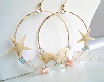 Real Starfish Hoops, Large Shell Hoop Earrings, Boho Beach Hoops, Peach Aqua Beach Earrings, Real Starfish Earrings, Gold Filled