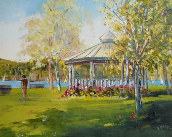 "Gazebo in the park  - Canadian original oil painting on canvas (10"" X 12""), Home decor by S. Levie"