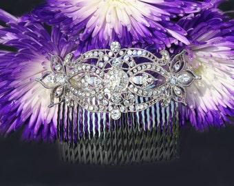 art deco bride crystal clear rhinestone silver bridal hair comb wedding hair accessories large hair combs headpiece head piece for bride