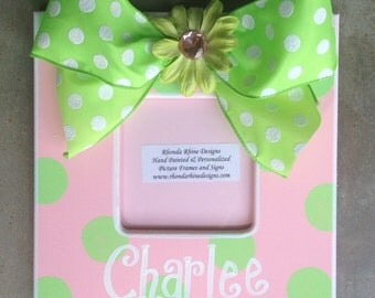 3x3 pink frame with lime dots and jeweled bow