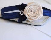 Basic Cream Rose with Navy Bow Headband Baby Headband Girl Headband