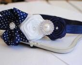 Navy and White Off Roses Headband posh with Navy dots Bow   Baby Headband Girl Headband