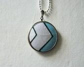 Flighty No.1 // Geometric Chevron Pendant, Silver Framed Textile Necklace, Original Art Pattern, Designer Fabric, Silver Ball Chain, Arrow