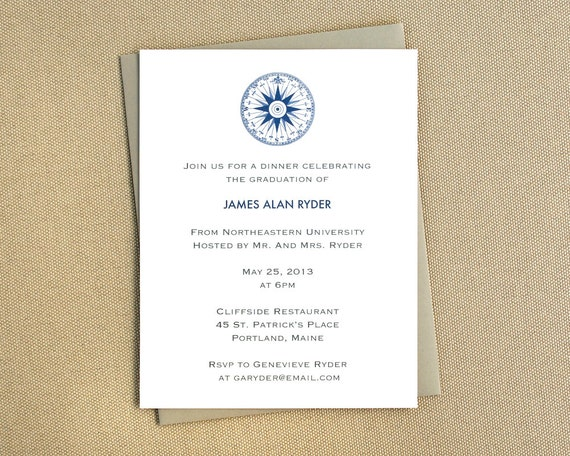 Nautical Party Invitation with Compass / Navy Invitations or Announcements / Maritime Themed Invitations