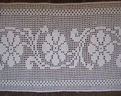 "Vintage Cotton Lace, 1930s White Hand-Crocheted Floral Design, Wide Insertion Trim, 24.5 x 10.5"", 1 piece"
