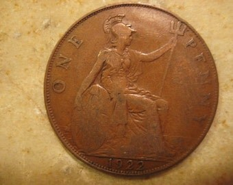 1922 United Kingdom Bronze Coin, 1 Penny - George V