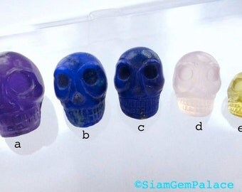LAPIS SKULL Cabochons. LARgE Hand Carved DeeP BlUe LaPiS. Memento Mori. 1pc. 15.25 cts. 17mm (Sk100C) Can Be Drilled