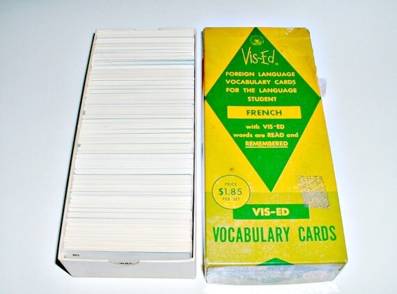 Vintage Vis-Ed French  Flash Cards Vocabulary Foreign Language in Box