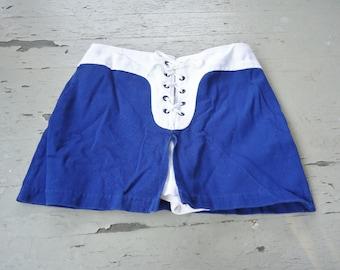 Blue & White Lace Up Vintage 1960's Skimpy SKORT Shorts S