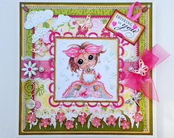 Thinking Of You Tabletop Decor - Girl Canvas - Spring Girl Big Eyed Bestie - Handmade Papercraft Design - Home Decor
