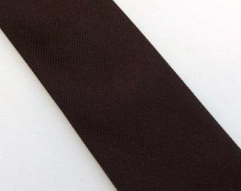 Vintage 60s Skinny Tie Necktie Solid Brown Silk Mad Men Mid Century