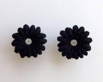 Vintage 50s Earrings Screw Back Navy Blue Fabric Ribbon Flower with Rhinestone Centers