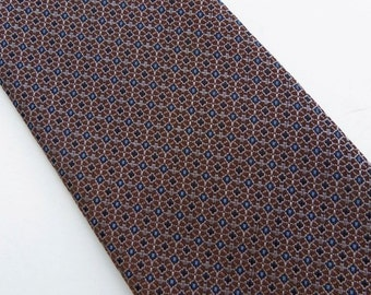 Vintage 50s Skinny Tie Necktie in Brown Geometric Pattern Washable