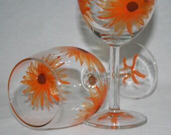 orange flowers wineglass hand painted
