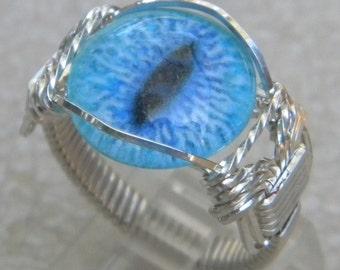 Sterling Silver Blue Eyeball Ring