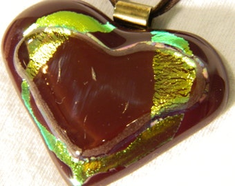Heart Pendant Fused Glass Heart Red and Gold Dichroic Pendant Necklace