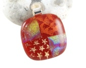 dichroic glass pendant gold stars on red