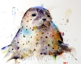 HARBOR SEAL Watercolor Print by Dean Crouser