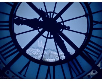 Time to go back to Paris - Clock at Musée d'Orsay with view of Sacré-Coeur 9x12 Original Fine Art Photograph