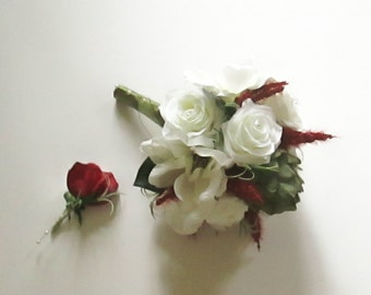 Sage Green and White Bridal Bouquet, Chef's Delight Bridal Bouquet, Red, Sage Green and White Bouquet, Rosemary Bouquet, Herbal Bouquet