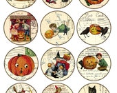 halloween - Digital Collage Sheet Vintage Printable Tags large circle images 2.5 inch round postcard background - black cat pumkin witch
