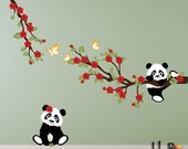 Panda decals with Cherry Blossom Branches and Butterflies, for Nursery, Kids, Childrens Room decor
