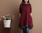 Color Blocking Two layered Cotton Sweater Knitwear Loose Fitting Knitted Tops Cardigan - Wine Red- Women Clothing
