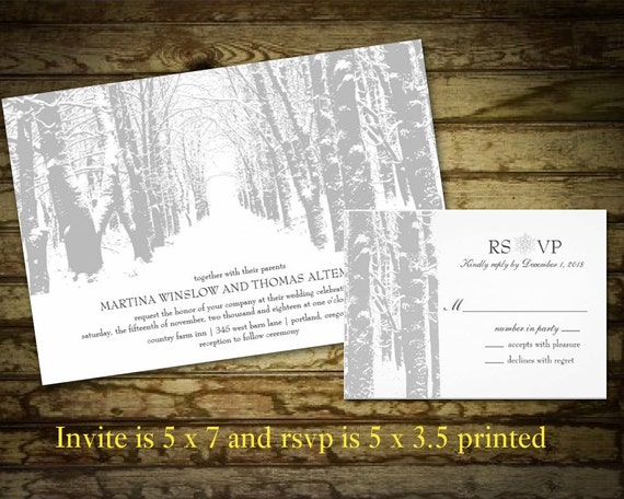 Winter Wedding Invitations Country Winter Landscape with Trees and Snow Winter Wonderland Printable File