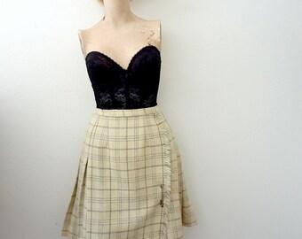 1960s Wool Skirt / short plaid wrap kilt with pin / collegiate vintage fall & winter fashion