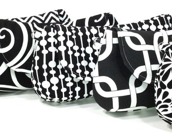 White Black Personalized Clutches, Wedding Bags, Bridesmaids Clutches, Bridal Party Gifts, Choose Your Fabric Set of 5