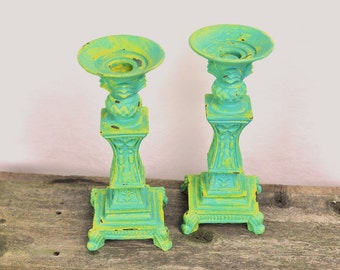 Lagoon Blue & Yellow Candle Holders Set Pair Candlestick Chippy Distressed Cottage Chic Decor Shabby Style