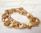 Matte Gold Charm Bracelet Blank, Add Wax Seal Initials . Stamped Charms . Biker . Goth .  Rocker Style . Mens Bracelet