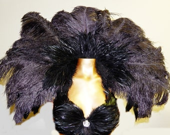 Gothic Ostrich Feather Collar Reversiable  Coque Plumes Huge 40X20