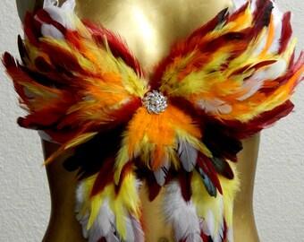 Fire Phoenix Feather Costume Belly Dance BRA/Shorts Fantail  Custom Made 4U