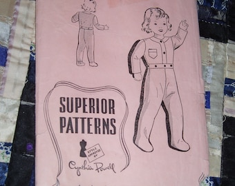 Vintage 1940s Childs Pajamas with or without Feet, Sears Superior Pattern 9901 Size 2
