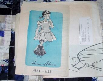 "Vintage 1940s Mail Order Anne Adams Pattern 4564, Girl's Dress, Size 4, Breast 23"", Waist 22"""
