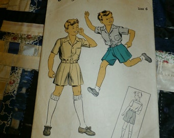 1943 Du Barry Pattern 5651 Boy's Shirt and Shorts Pattern Size 6, Chest 24, Waist 22
