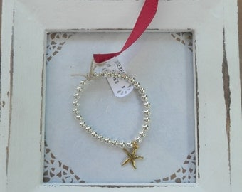 Roselyn sterling silver plated bracelet GOLDEN STARFISH for everyday, gift, christmas