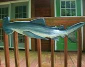 Great Hammerhead Shark carving 4ft. chainsaw fish sculpture coastal home decoration wooden shark wall mount nautical seaside original art