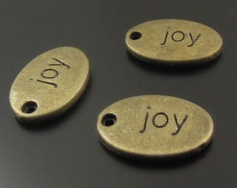 5 Joy Charms Antique Bronze Tone Two Sided - BC674