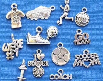 Deluxe Soccer Charm Collection Antique  Silver Tone 12 Charms - COL253