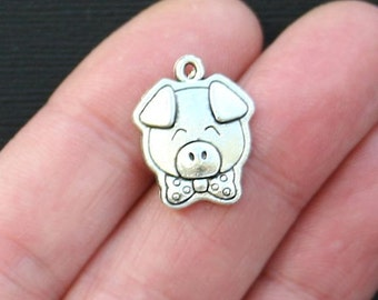 6 Pig Charms Antique  Silver Tone Too Cute with Bowtie - SC2762
