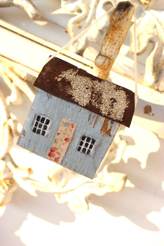 folk art primitive mixed media 3 d little  powder blue wooden house with tin roof  christmas tree ornament sculpture k d milstein fadedwest