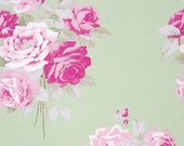 SALE! Tanya Whelan Fabric Slipper Roses Shabby Chic Fabric by the Yard Rose Fabric Slipper in Green One Yard