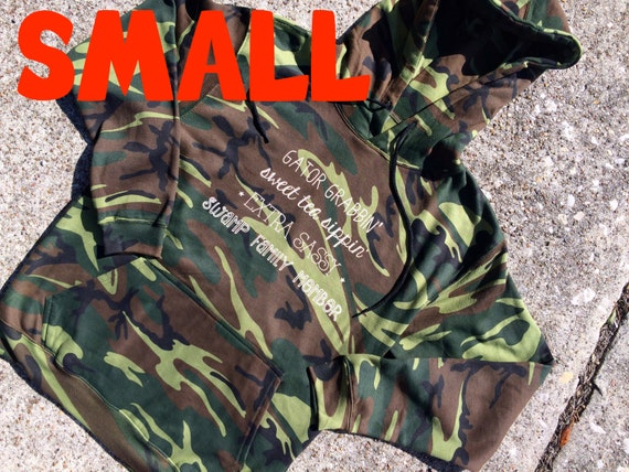 SMALL sassy words CAMO colored HOODIE