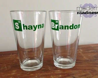 Pint Glasses - Breaking Bad - Heisenberg - (Set of 2) - Beer Glass - Periodic Table Elements - Fathers Day