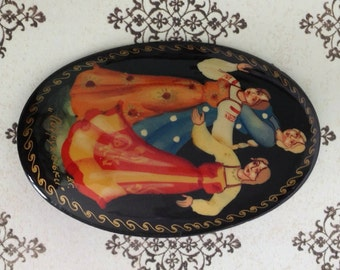 Vintage Brooch Hand Painted Russian