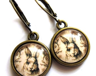 Sepia Hare Earrings Rabbit Glass and Brass Vintage Style Fashion Jewelry
