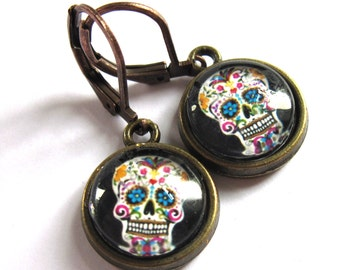 Halloween Sugar Skull Glass Earrings Fashion Jewelry