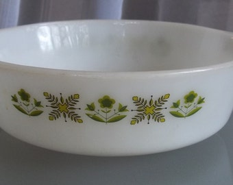 Fire King Casserole Dish, Green Meadow Pattern, Vintage Serving, Baking, Cooking, Glass Casserole Dish, Kitschy Kitchen, Shabby Chic Cafe